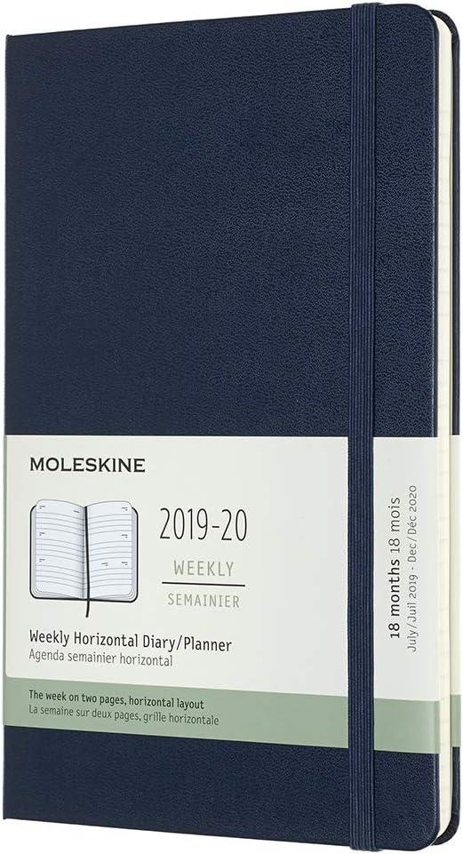 Moleskine - Agenda Semanal Horizontal de 18 Meses 2019/2020, Calendario Académico con Tapa Dura y Goma Elástica, Color Azul Zafiro, Tamaño Grande 13 x 21 cm, 208 Páginas