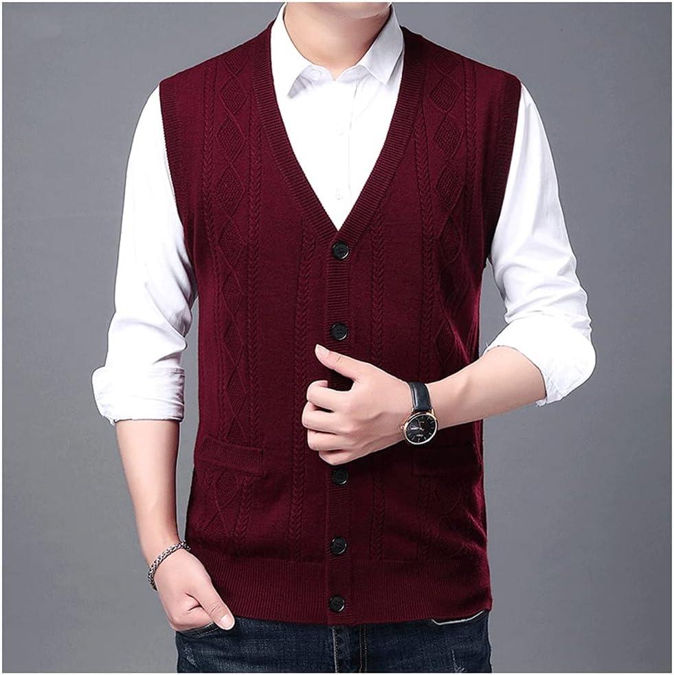 CHYSP Autum Winter Sweater Vest Korean Cable Knit Men Woolen Casual Mens Clothing (Color : Red, Size : L Code)