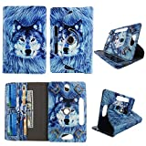 Snow Wolf Tablet case 8 inch for Kindle fire HD 8' 8inch Android Tablet Cases 360 Rotating Slim Folio Stand Protector pu Leather Cover Travel e-Reader Cash Slots