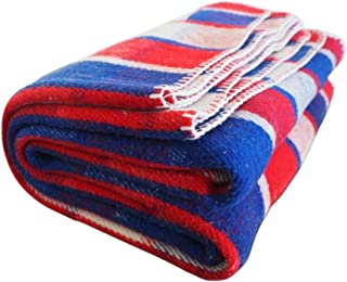 Woolly Mammoth Woolen Company Farmhouse Collection Thick Warm Wool Blanket. The Perfect complement to Your Country Home Decor. Use as an Oversized Throw or Additional Layer on The Bed | Red White Blue