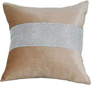 uxcell Sparkle Luxury Diamante Cushion Cover Velvet Wedding Party Decor 45 x 45cm Beige