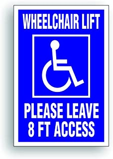 Solar Graphics USA Handicap Decal - Wheelchair Lift 8 Ft For Handicapped Van, Bus, Vehicle with Disability Lift - 4 x 6 inch