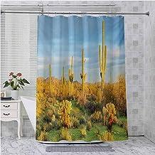 Aishare Store - Cortina de ducha, diseño de cactus, color azul y verde