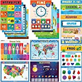 Learning Posters for Toddlers - New updated 24 Preschool Posters for the Wall - Variety Pack of Large 16.5 x 11.7 Inch Glossy Double Sided Laminated Kindergarten Posters for Classroom & At Home Use