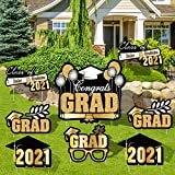 URATOT Congrats Grad Yard Signs with Stakes Graduation Waterproof Lawn Decorations 8 Pieces Corrugated Party Outdoor Decorations