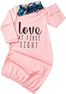 Dubasam Newborn Baby Girl Long Sleeve Nightgowns Letters Print Sleepwear Romper with Headband Sleeping Bag Outfits 0-6 Months
