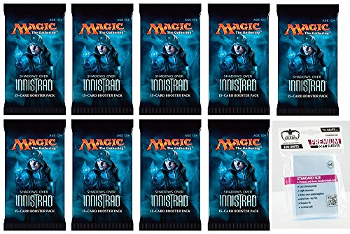 9 x Magic MTG Shadows over Innistrad - Booster Pack - Englisch - English + 100 Ultimate Guard Cards Premium Sleeves - 9 Boosterpackungen Magic: The Gathering