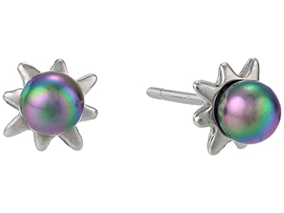 Majorica 4 mm Round Pearl Mini Short Earrings with Post On Sterling Silver Rhodium-Plated (Grey) Earring