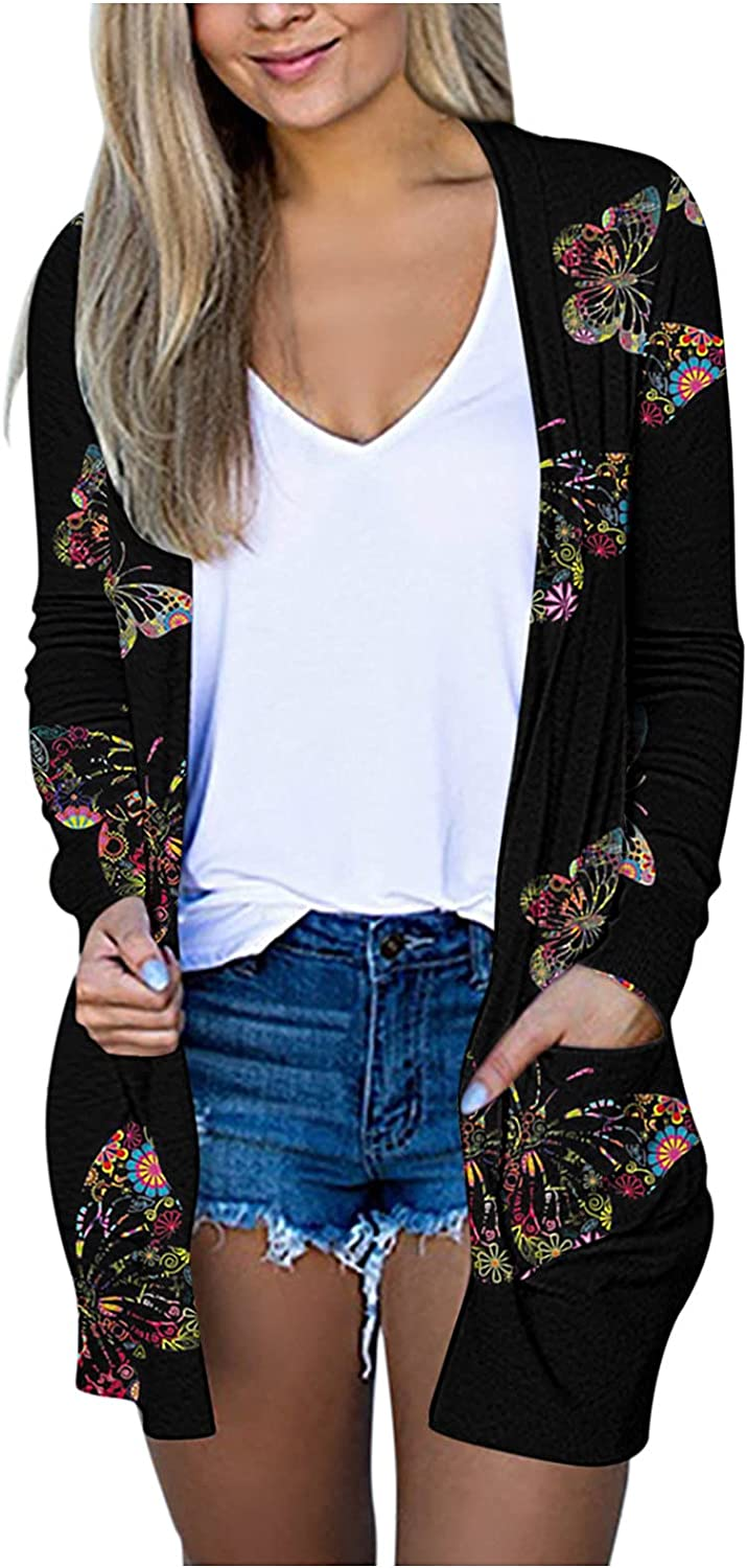 Women Open Front Cardigan Sweaters Pockets Long Sleeve Shrugs Solid Color Neckline Cardigans Soft Basic Sweater