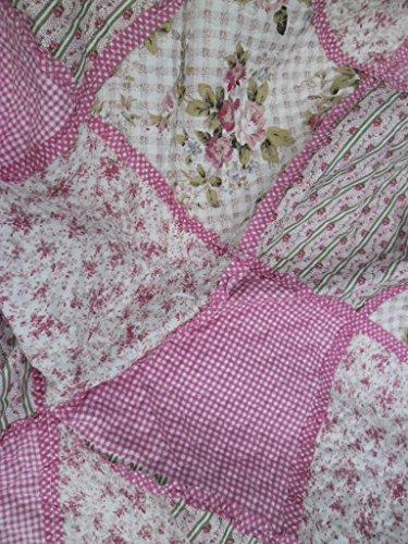 Unbekannt Romantische Steppdecke Tagesdecke Plaid Bettüberwurf English Rose 140 x 200 cm - Offwhite/rosa - Shabby Chic Landhaus