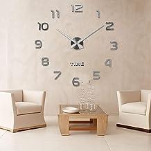 Innoo Tech Acrylic Modern Mute DIY Frameless Large Wall Clock 3D Sticker - Sliver