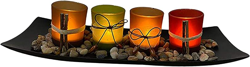 Fenteer Natural Farm-House Candle-Scape Set of 4 Decorative Candle Holders Rocks and Tray, for Wedding Party Spa Aromather...