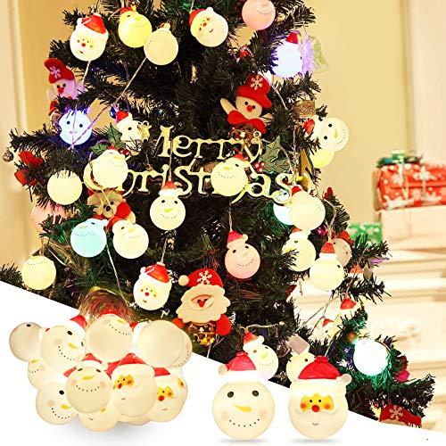 Luces Guirnalda Cadena para Decoraciones Navidad, 20 Piezas LED Muñeco de Nieve Papá Noel, Jardín Bateria/USB...
