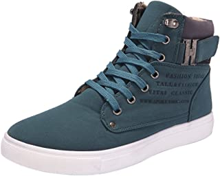 HAALIFE ◕‿ Mens Canvas Shoes Hightop Sneakers Flat Ankle Boot Lace up Shoes