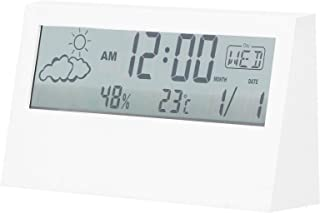 مقياس درجة حرارة الرطوبة الإلكترونية ساعة منبه مع درجة الحرارة والرطوبة ساعة رقمية صديقة للبيئة للمنزل