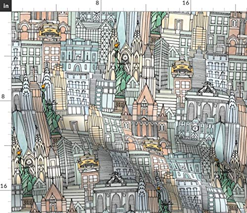 Spoonflower Fabric - Watercolor American Architecture Illustration Whimsical NYC City Printed on Cotton Poplin Fabric by The Yard - Sewing Shirting Quilting Dresses Apparel Crafts