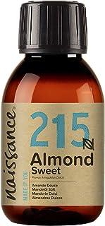 Naissance natürliches Mandelöl süß Nr. 215 100ml - Vegan, gentechnikfrei - Ideal zur Haar- und Körperpflege, für Aromatherapie und als Basisöl für Massageöle