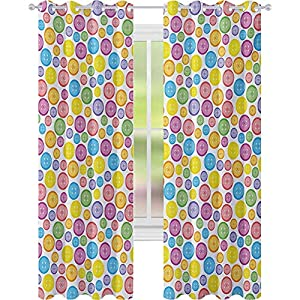 Window Treatments Curtains, Circular Shaped Buttons Pattern in Various Sizes Artistic Kids Nursery Baby Print, W52 x L95 Light Blocking Drapes for Nursery, Multicolor