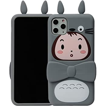 """Phenix Color Cartoon Case for iPhone 11 6.1"""" 2019, Kickstand 3D Cute Soft Silicone Rubber Protective Rotatable Stand Cover,Animated for Teens Girl (Totoro, iPhone 11 6.1"""")"""