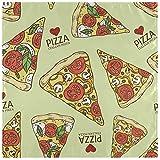 BONRI Set di 4 fette di Pizza Italiana Vintage con Pomodoro e Verdure Cuore Rosso su tovaglioli di Stoffa Beige Tovaglioli in Poliestere Lavabili per Tavolo da Pranzo Festa di Matrimonio Vaca 20'X20'