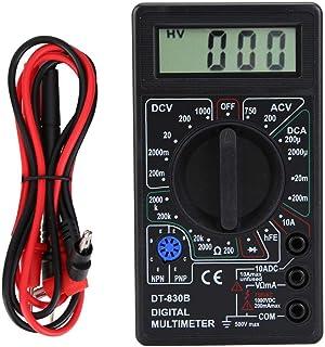 Digitalanzeigemultimeter, hochpräzises manuelles und automatisches Digitalmessgerät mit 6000 Zählern, multifunktionales AC/DC Strommultimeter, tragbares Taschenmessgerät(DT 830B Black)