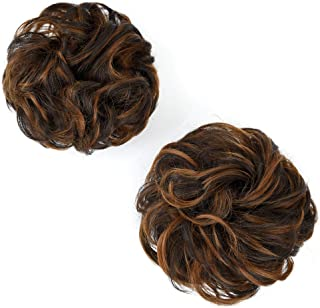 REECHO Women's Thick 2PCS Hair Scrunchies Made of Hair Curly Wavy Updo Hair Bun..