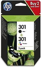 Paquete de 2 cartuchos de tinta originales HP 301 negro/tricolor N9J72AE
