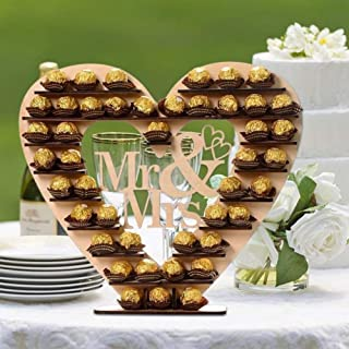 Mr & Mrs Wooden Candy Chocolate Display Stand Heart Shaped Shelf for Wedding Reception Décor Table Centerpiece