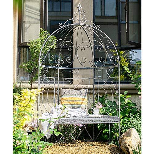 AAQQ Rosenbogen aus Metall, Klassischer Gartenbogen, Gartenlaube mit Sitzen, 119 cm X 60 cm X 215 cm, Eisenrosenbogen für Kletterpflanzen, Rosengitter