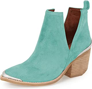 YDN Women Ankle Booties Low Heel Faux Suede Stacked Boots Cut Out Shoes with Metal Toe