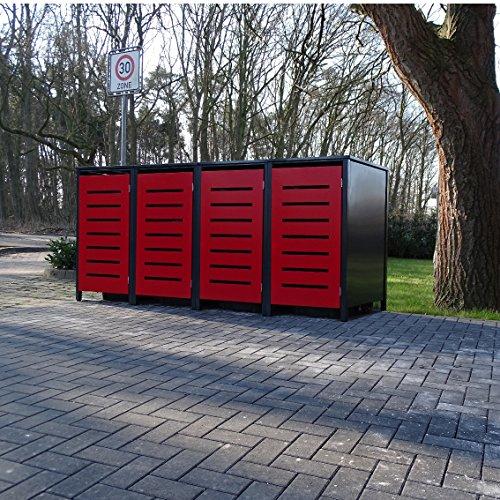 *4 Mülltonnenboxen Modell No.6 für 240 Liter Mülltonnen / RAL 7016 Anthrazit Front Rot /witterungsbeständig durch Pulverbeschichtung / mit Klappdeckel und Fronttür Rot*