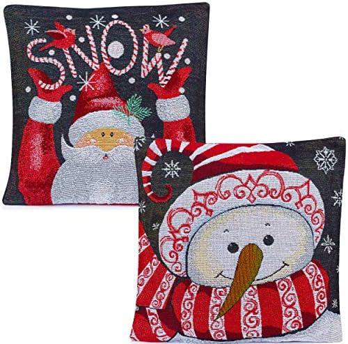 Christmas Throw Pillow Covers Santa Snowman Christmas Pillow Covers 18 x 18 Set of 2 Christmas product image