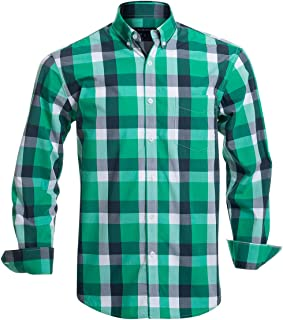 Double Pump Mens Button Down Shirts Long Sleeve 100% Cotton Regular Fit Button Down Shirts for Men
