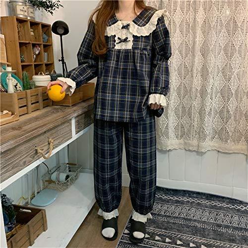 sjzwt Chic Plaid Sleepwear Remorro de Patchwork Encaje Geométrico Mangas largas Casa Ropa Hoja Casual Chic Mujeres Dulces Pijamas