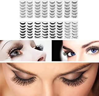 Frcolor 8-Style 80 Pairs Natural Fake Eyelashes Thick Long Eye Lashes Black Soft Fake Lash