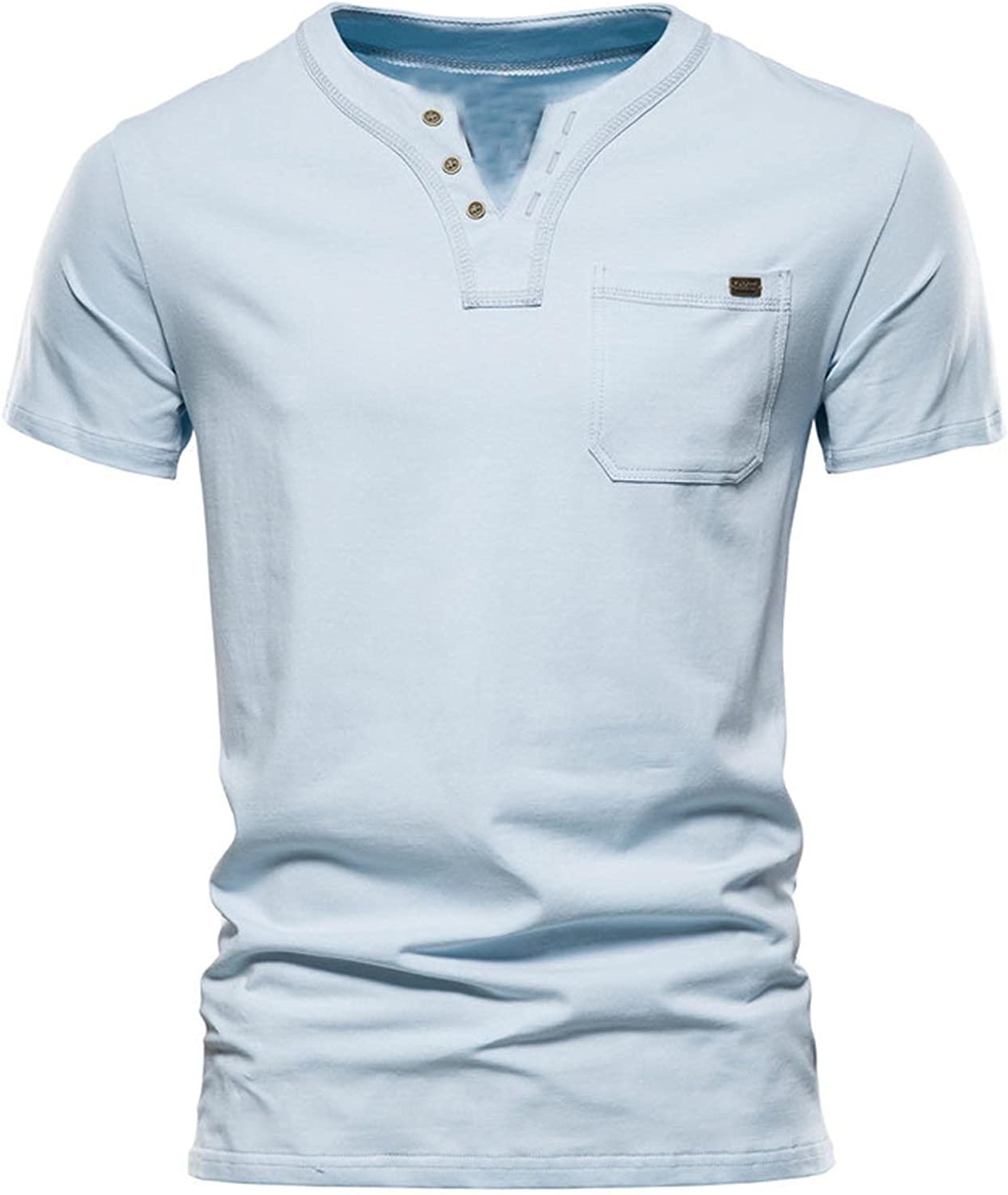 Mens V Neck Summer Tops Casual Workout Sport T Shirts with Pocket Slim Henley Collar Solid Tees for Men