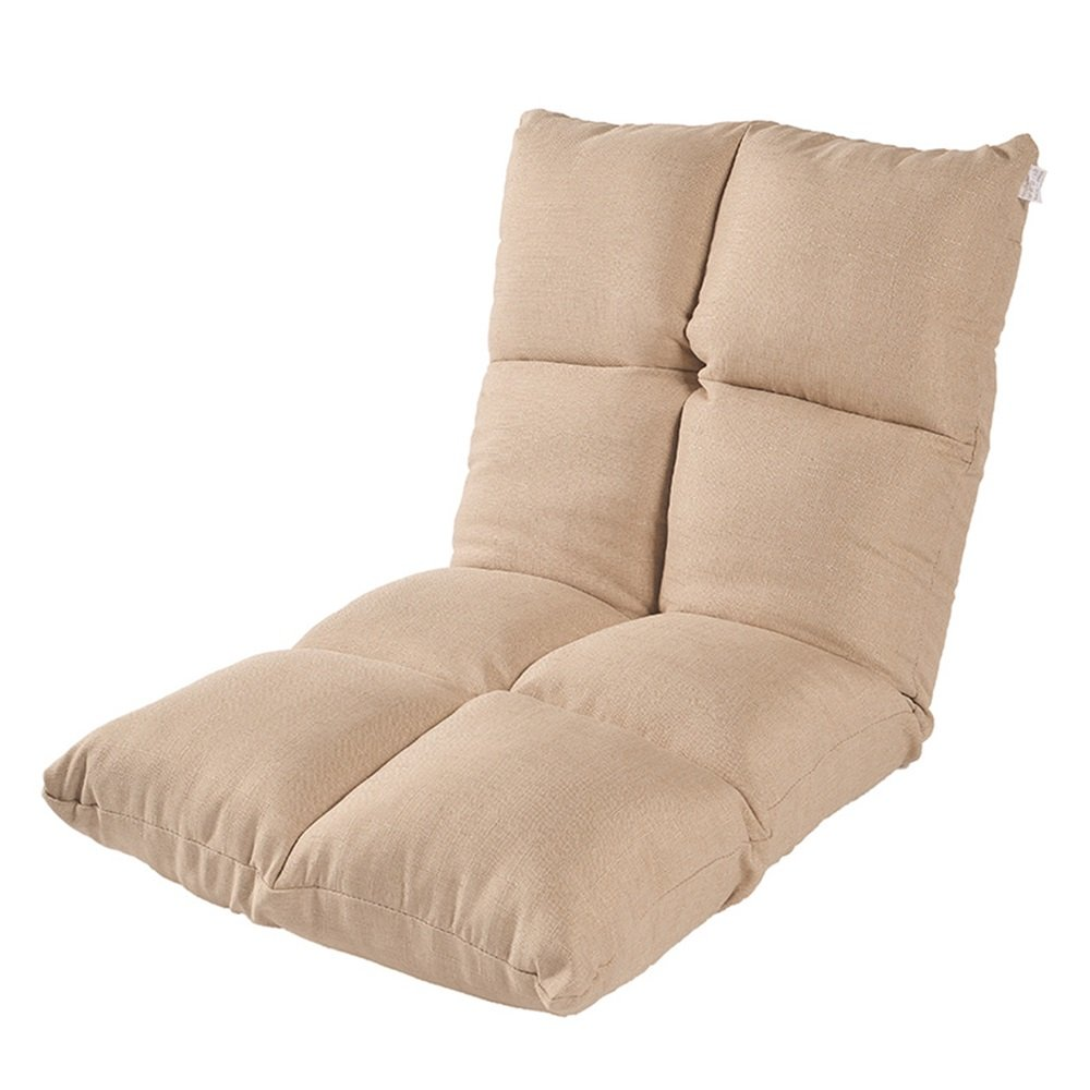 ZHIRONG 背部サポート6つの角度の折り畳み式の瞑想の椅子が付いている床の椅子の調節可能な床席 (色 : カーキ)