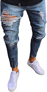 Mens Biker Jeans Stretchy Pants Skinny Denim Slim Jeans Fit Destroyed Ripped Trousers