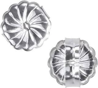 uGems 14K White Gold Swirl Earring Backs Premium Medium 7mm (1 Pair)