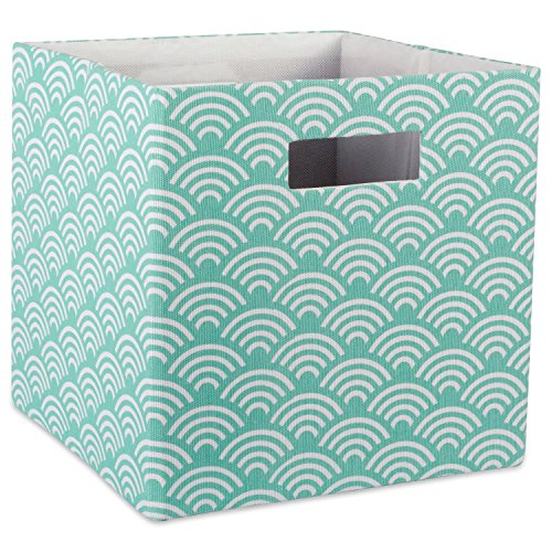 DII Hard Sided Collapsible Fabric Storage Container for Nursery, Offices, & Home Organization, (13x13x13) - Waves Aqua