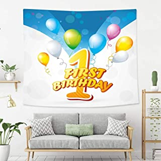 Creative Custom Tapestry 1st Birthday Decorations First Party Theme Balloons with Abstract Blue Toned Image Blue and Light Blue Tapestry, Living Room Bedroom Decoration Tapestry, Mattress, Tablecloth