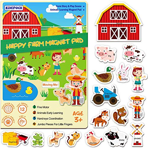 KiDEPOCH Magnetic Puzzles for Kids Ages 3-5, Portable Travel Games for Toddlers, Washable Toddler Magnets, Educational Farm Theme Preschool Puzzles for Storytelling, Games and Fun