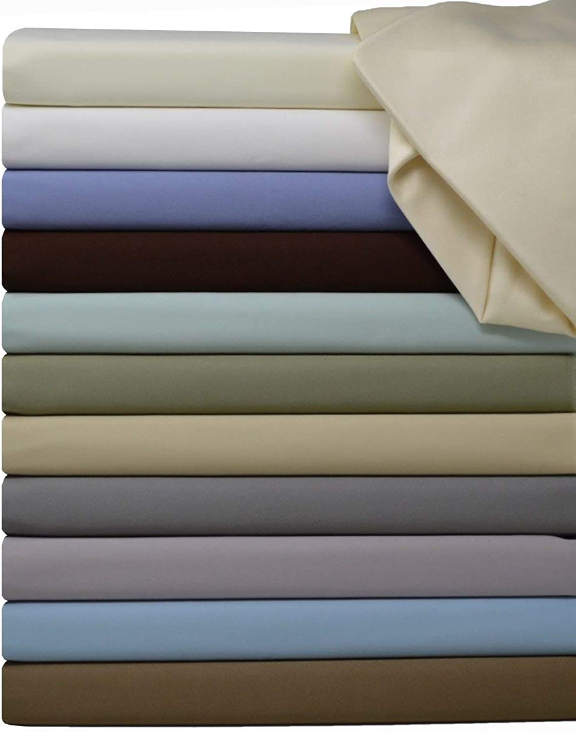 Split-King  Adjustable King Bed Sheets 5PC Solid White 100% Cotton 600-Thread-Count, Deep Pocket