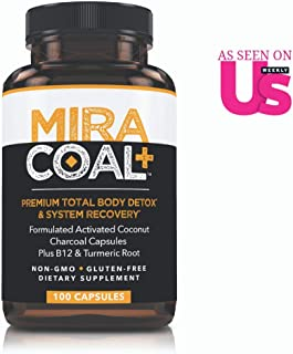 Miracoal Activated Charcoal Capsules for Detox - Turmeric Root for Inflammation | Vitamin B12 for Boosted Energy | Organic, Non GMO and Gluten