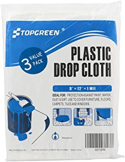 TopGreen 3 Pack Plastic Drop Cloth 9 Feet by 12 Feet Clear Tarp Drop Sheet Plastic Painting Tarp Patio Drop sheeting Furniture Cover Plastic Grill Cover for Painting Protection