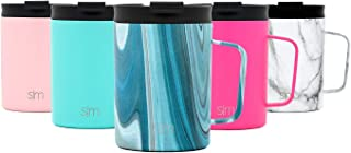 Simple Modern 12oz Scout Coffee Mug Tumbler - Travel Cup for Men & Women Vacuum Insulated Camping Tea Flask with Lid 18/8 Stainless Steel Hydro Pattern: Ocean Quartz