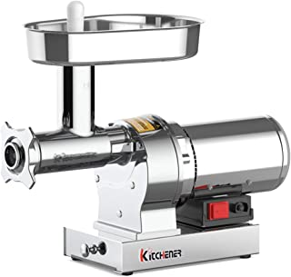 Kitchener Elite Electric Meat Grinder & Sausage Stuffer #12 3/4 HP 720 LBS Per/Hr 550 Watts Super Heavy Duty Stainless Steel Body Commercial Grade Stainless Steel Cutlery Feeding Tray & Neck