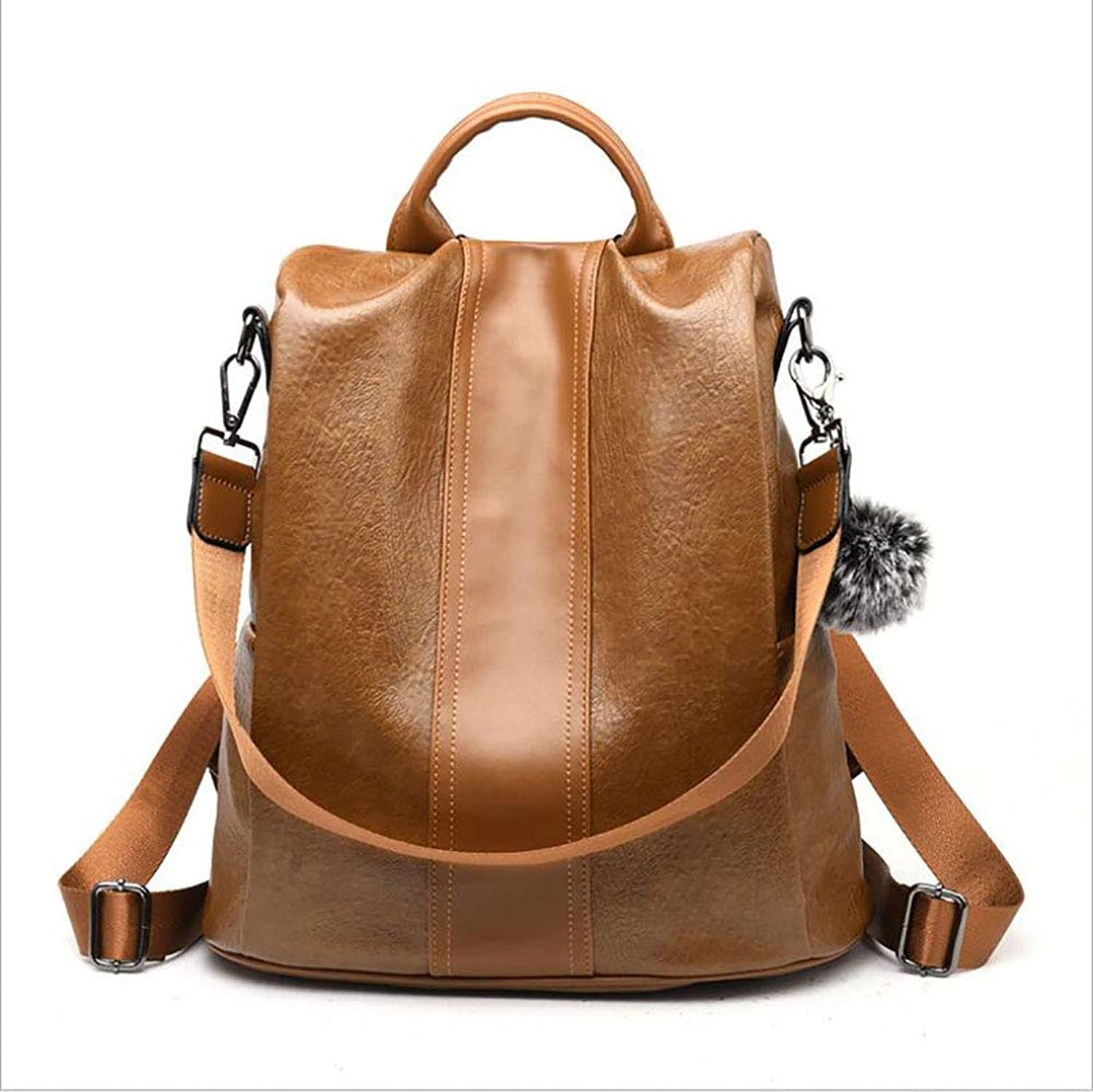 Women's New PU Backpack Bag Ladies Soft Leather Fashion Wild Handbag Simple Travel Messenger Bag Shopping Go to Work Appointment (color   A)