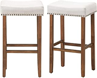 Cway 2 pcs 29.5 Saddle Bar Stools with Fabric Seat and Wood Legs | Weight Capacity: 264 lbs | Product Dimension: 17.5