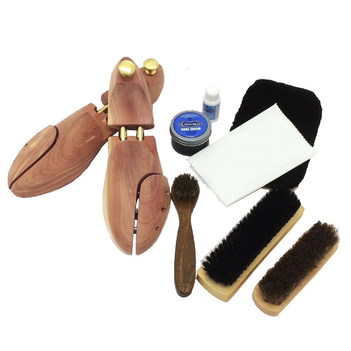 トーナメントコショウあいまいさ[ワイアールエムエス] シューケア用品 M.モゥブレィセット 靴磨き シューツリー付 フルセット 靴のケアに最適のアイテム満載 靴のお手入れに 靴クリーム ブラック